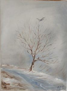 """Filippo Baroncelli - """"Albero con Neve"""". Albero in paesaggio innevato con uccello dalle ali spiegate"""