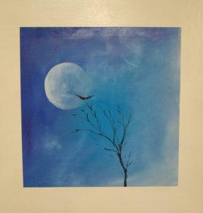"""Filippo Baroncelli - Invisibile. Quadro creato durante la mostra Collettiva """"L'Invisibile"""" a Novembre 2018. Quadro con luna, falco e albero."""