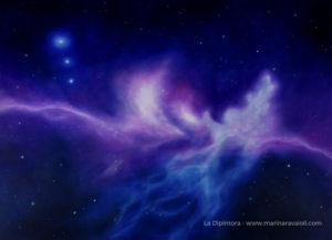 Marina Ravaioli - La Vita Oltre la Vita Opera blu e magenta con un'anima che si riunisce all'Uno