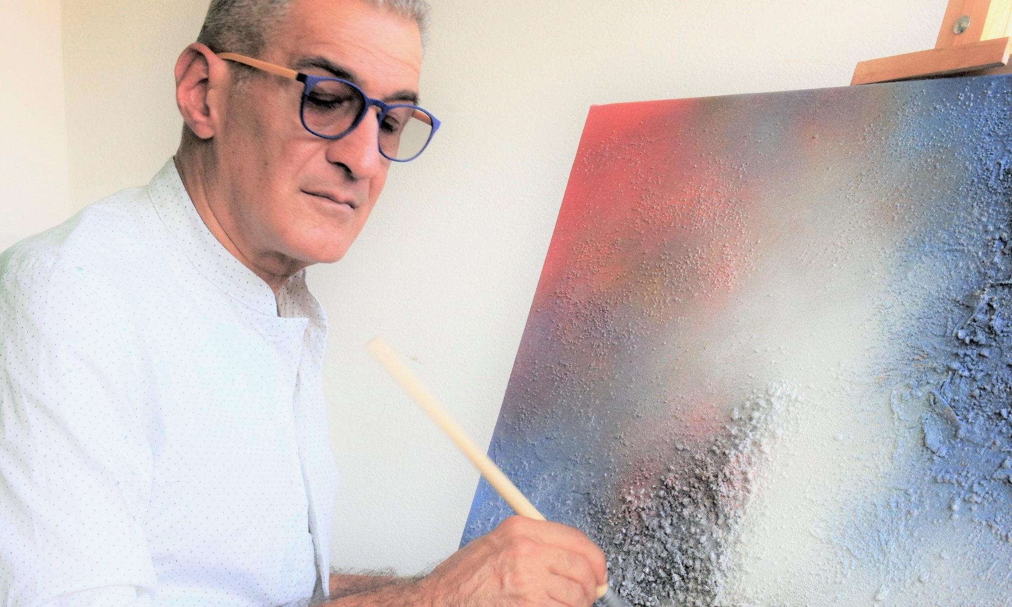 """Lorenzo Mignani - Pittore """"Ogni mio quadro è un altro """"me"""" che vive di vita propria. Il mio stato d'animo definisce i colori di un'opera o il modo in cui uso i pennelli e le spatole e influenza la direzione che prenderà il quadro."""""""
