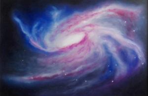 """La Rivelazione di Hunab Ku"" opera di Marina Ravaioli. Galassia a spirale sui toni del magenta e del blu"